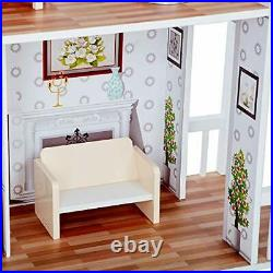 Wooden Doll House with Horse Stable- Farmhouse
