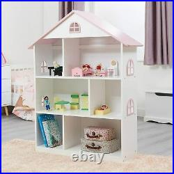 Wooden Dollhouse Bookcase White/Pink, Wood Bedroom Home Feature H106.4cm