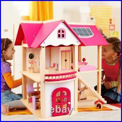 Wooden Dollhouse Kids Girls Miniature Furniture Toy Set Christmas Birthday Gift
