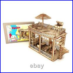 Wooden Dollhouse Vintage Barbie Style Accessories Two-Story Doll House New Eco