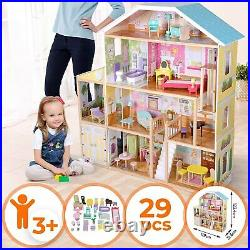 Wooden Dolls House 119 x 31.6 x 123.4 cm with LED Lighting 4 Floors 29 Pieces