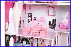 Wooden Dolls House Barbie Doll House Dollhouse Miniature 17PCS Furniture Cottage