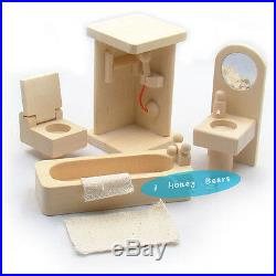 Wooden Dolls House Furniture 4 Sets Bedroom Kitchen Bathroom&Living Room+6 Dolls
