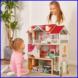 Wooden Dolls House Girls Large Dollhouse Toy Kids Furniture Miniature Set Access