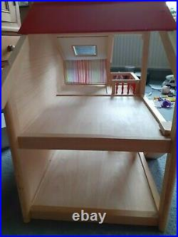Wooden Dolls House + furniture for all rooms + Car + people + outdoor games