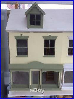 Wooden Double Fronted Minature Dolls House 1/12 Scale Ideal Shop Or Pub