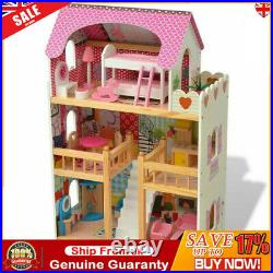 Wooden Kids 3 Storey Doll House With Furniture Accessories Mansion Playhouse Toy