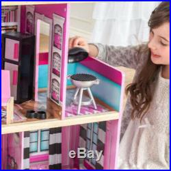 Wooden Mansion Doll House Miniature Girls Toy With Lights Sound Accessories Gift