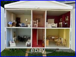 Wooden Vintage Dolls House With Furniture