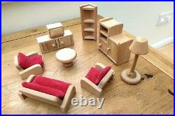 Wooden dolls' house furniture / accessories large bundle shed, pets etc ELC