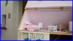 Wooden dolls house in cream and blue 5 or 6 rooms in very good condition