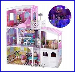 XXL WOODEN DOLL HOUSE WITH FURNITURE 112cm dollhouse DOLLS HOUSE barbie WITH LED